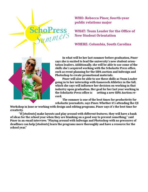 SchoPress Summer Features Becca Piner